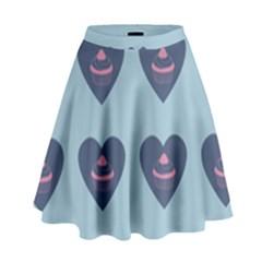 Cupcake Heart Teal Blue High Waist Skirt