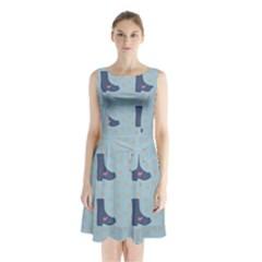 Deer Boots Teal Blue Sleeveless Waist Tie Chiffon Dress