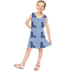 Deer Boots Teal Blue Kids  Tunic Dress