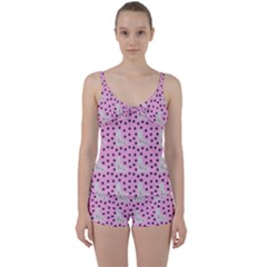 Deer Boots Pink Grey Tie Front Two Piece Tankini
