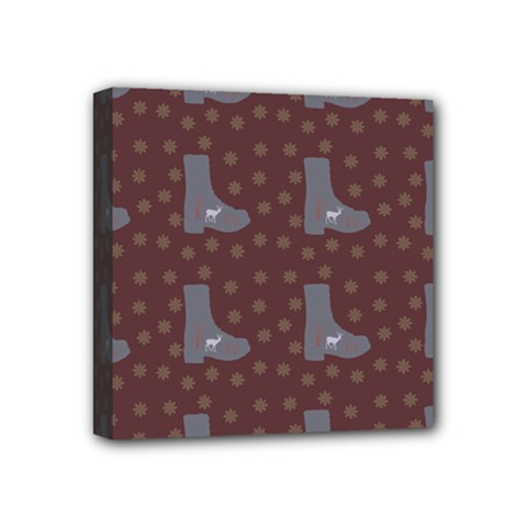 Deer Boots Brown Mini Canvas 4  X 4