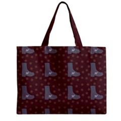 Deer Boots Brown Zipper Mini Tote Bag