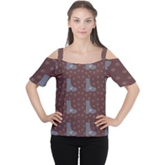 Deer Boots Brown Cutout Shoulder Tee