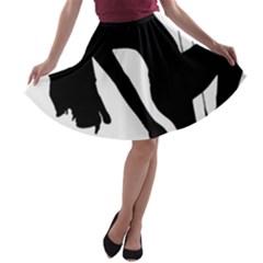 Pole Dancer Silhouette A Line Skater Skirt