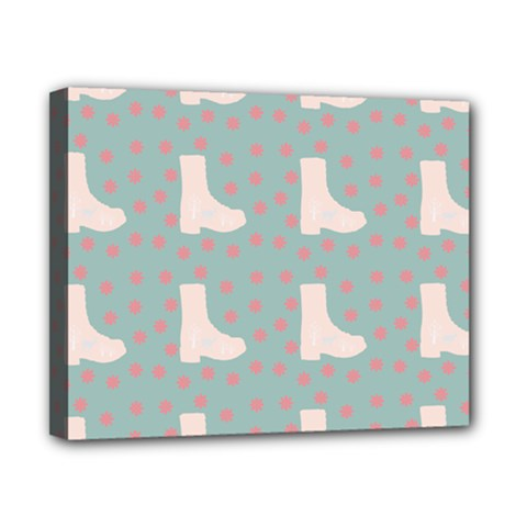 Deer Boots Blue White Canvas 10  X 8