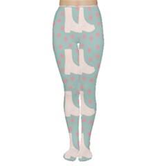Deer Boots Blue White Women s Tights