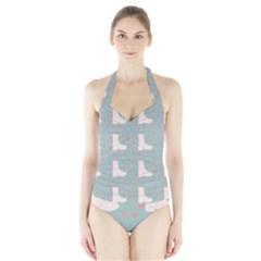 Deer Boots Blue White Halter Swimsuit