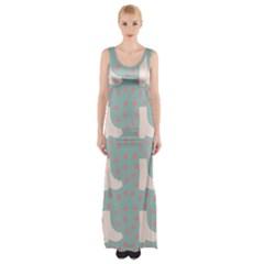 Deer Boots Blue White Maxi Thigh Split Dress