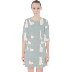 Deer Boots Blue White Pocket Dress