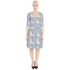 Deer Boots Blue White Wrap Up Cocktail Dress