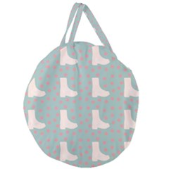 Deer Boots Blue White Giant Round Zipper Tote