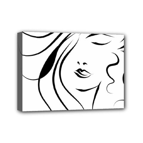Womans Face Line Mini Canvas 7  X 5