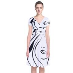 Womans Face Line Short Sleeve Front Wrap Dress