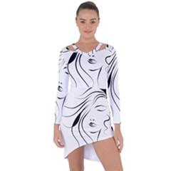 Womans Face Line Asymmetric Cut Out Shift Dress