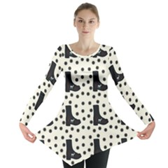 Deer Boots White Black Long Sleeve Tunic