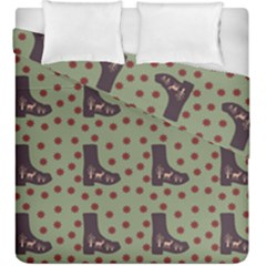 Deer Boots Green Duvet Cover Double Side (king Size)