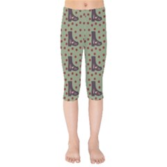 Deer Boots Green Kids  Capri Leggings