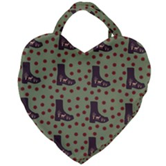 Deer Boots Green Giant Heart Shaped Tote