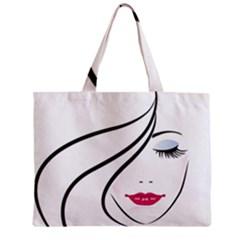 Makeup Face Girl Sweet Zipper Mini Tote Bag