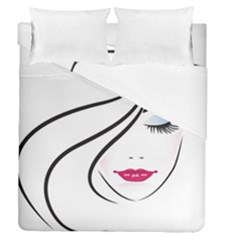 Makeup Face Girl Sweet Duvet Cover Double Side (queen Size)
