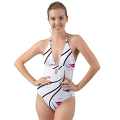 Makeup Face Girl Sweet Halter Cut Out One Piece Swimsuit