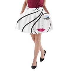 Makeup Face Girl Sweet A Line Pocket Skirt