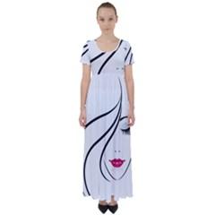 Makeup Face Girl Sweet High Waist Short Sleeve Maxi Dress