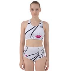Makeup Face Girl Sweet Racer Back Bikini Set