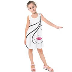 Makeup Face Girl Sweet Kids  Sleeveless Dress