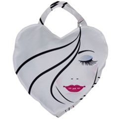 Makeup Face Girl Sweet Giant Heart Shaped Tote