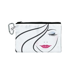 Makeup Face Girl Sweet Canvas Cosmetic Bag (small)
