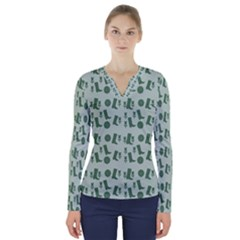Green Boots V Neck Long Sleeve Top