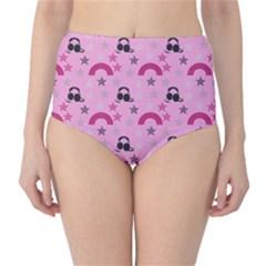 Music Stars Rose Pink High Waist Bikini Bottoms