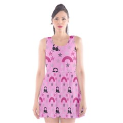 Music Stars Rose Pink Scoop Neck Skater Dress