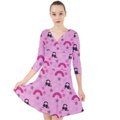 Music Stars Rose Pink Quarter Sleeve Front Wrap Dress
