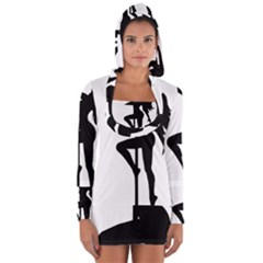 Dance Silhouette Pole Dancing Girl Long Sleeve Hooded T Shirt