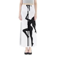 Dance Silhouette Pole Dancing Girl Full Length Maxi Skirt
