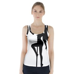 Dance Silhouette Pole Dancing Girl Racer Back Sports Top