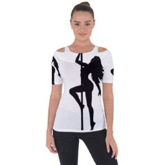 Dance Silhouette Pole Dancing Girl Short Sleeve Top