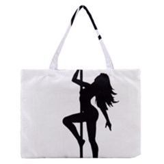 Dance Silhouette Pole Dancing Girl Zipper Medium Tote Bag