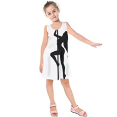 Dance Silhouette Pole Dancing Girl Kids  Sleeveless Dress