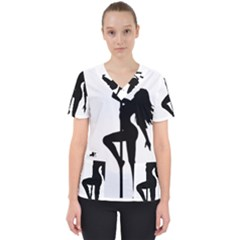 Dance Silhouette Pole Dancing Girl Scrub Top