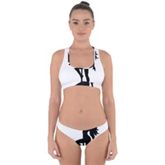Dance Silhouette Pole Dancing Girl Cross Back Hipster Bikini Set