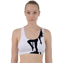 Dance Silhouette Pole Dancing Girl Back Weave Sports Bra