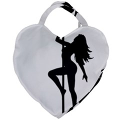 Dance Silhouette Pole Dancing Girl Giant Heart Shaped Tote