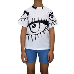 Drawn Eye Transparent Monster Big Kids  Short Sleeve Swimwear