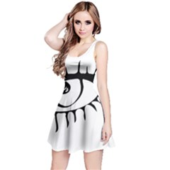 Drawn Eye Transparent Monster Big Reversible Sleeveless Dress