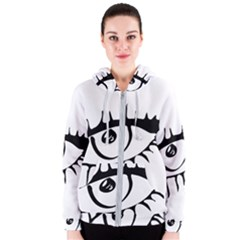 Drawn Eye Transparent Monster Big Women s Zipper Hoodie