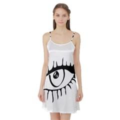 Drawn Eye Transparent Monster Big Satin Night Slip