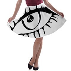 Drawn Eye Transparent Monster Big A Line Skater Skirt
